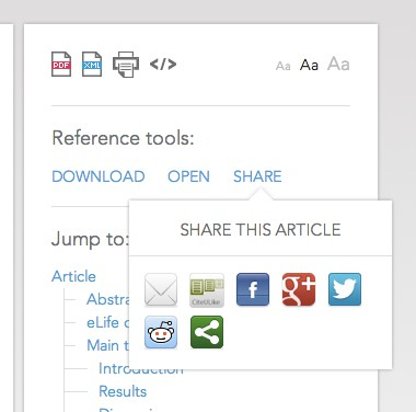Open your eLife papers in Mendeley, Papers, Readcube and