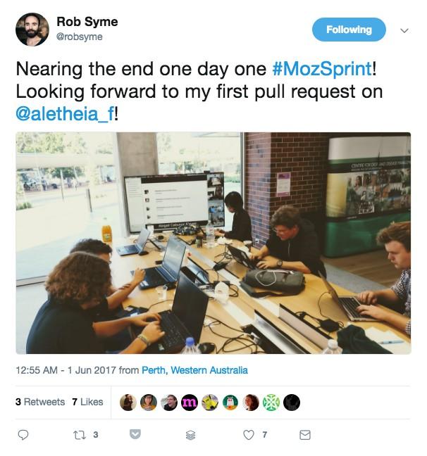 Mozilla Sprint Tweet