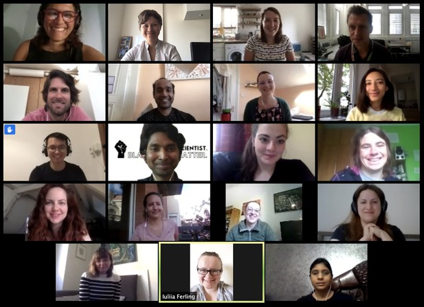 head-and-shoulder webcam views of 29 people arranged in a tiled display