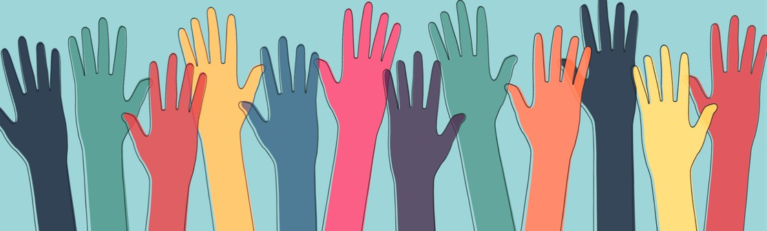 Image of raised hands to represent diversity