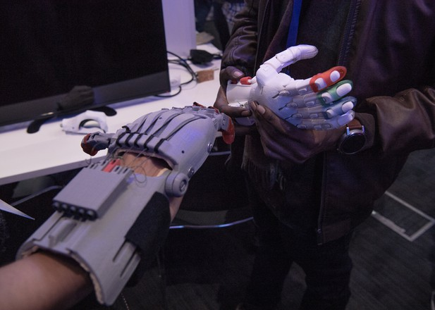 Two prosthetic hands