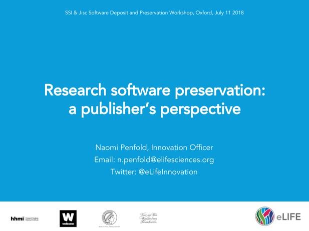 Software Preservation Workshop by eLife