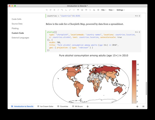 Document editor showing code block followed by computed chlorpleth map image