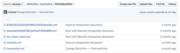 Screenshot of github repository showing contents of an example Dar