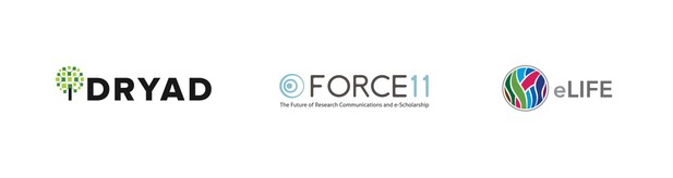 Logos of Dryad FORCE11 and eLife