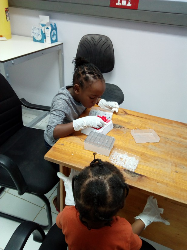 Chileshe's daughters playing with pipette tips in a lab