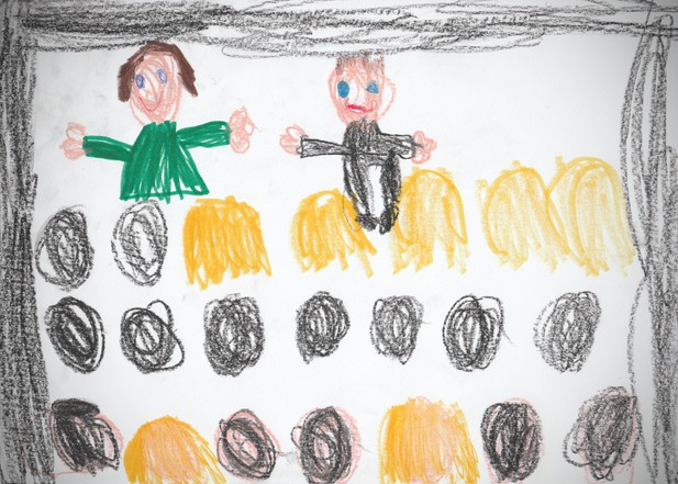 A child's drawing of her parents teaching