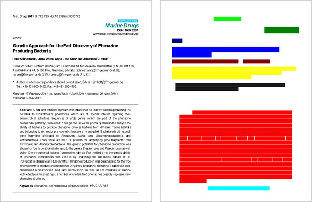 A PDF side by side by an image of the PDF elements as colour blocks