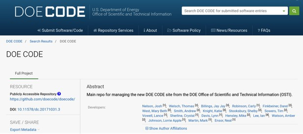 DOE code - abstract example