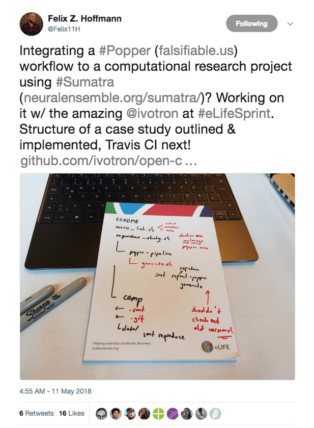 screenshot of a tweet by Felix Hoffman about this project's work