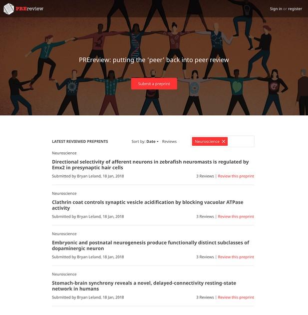 Mock-up of a website homepage