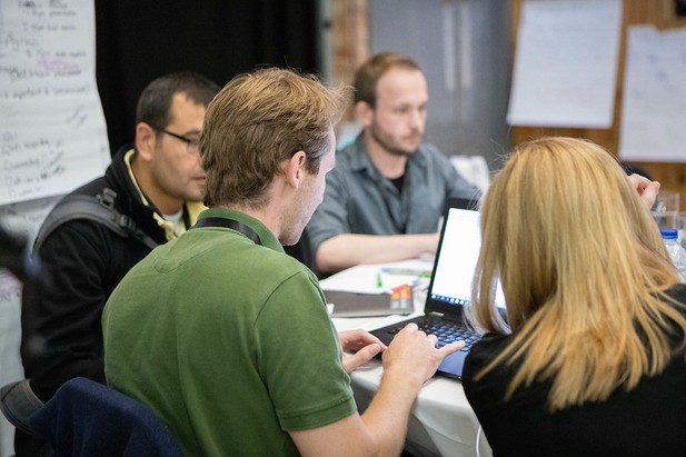 A team developing open prototypes at the eLife Innovation Sprint 2019. Photo credit: Jess Brittain Photography.