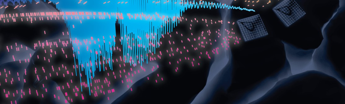 Blue sound waves on black background