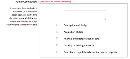 Former choice options for author contributions