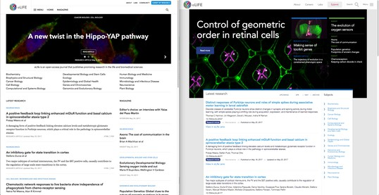 Side-by-side comparison of the eLife homepage