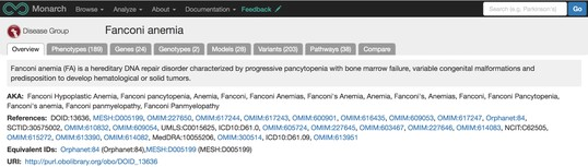Screenshot of Fanconi anemia overview page