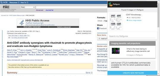 Screenshot of ReFigure extension open on PubMed central webpage