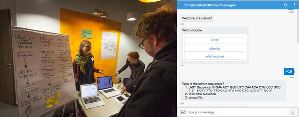 Left: a man reads a flipboard of notes and a woman in the background presents something on a laptop; right: screenshot of chatbot