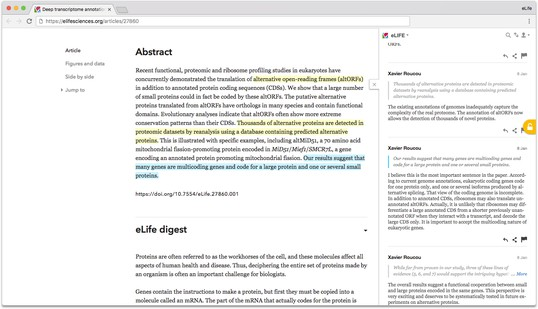 Screenshot of eLife article with annotation pane open