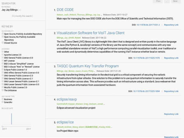 DOE code - author projects