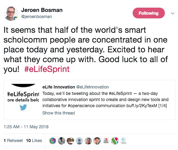"Tweet from Jeroen Bosman; ""It seems that half of the world's smart scholcomm people are concentrated in one place today and yesterday..."""