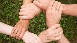 A circle of hands holding wrists