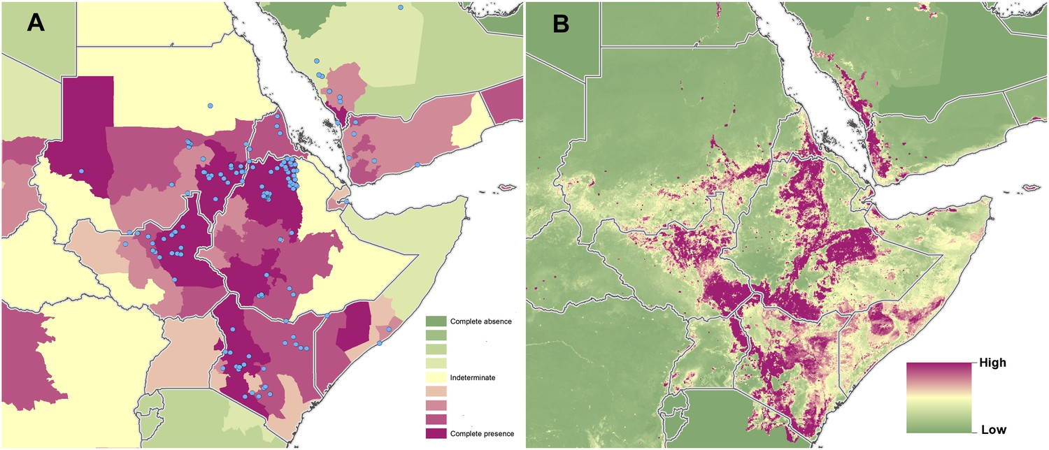 Costa Rica Population Density Map%0A Reported and predicted distribution of visceral leishmaniasis in northeast  Africa