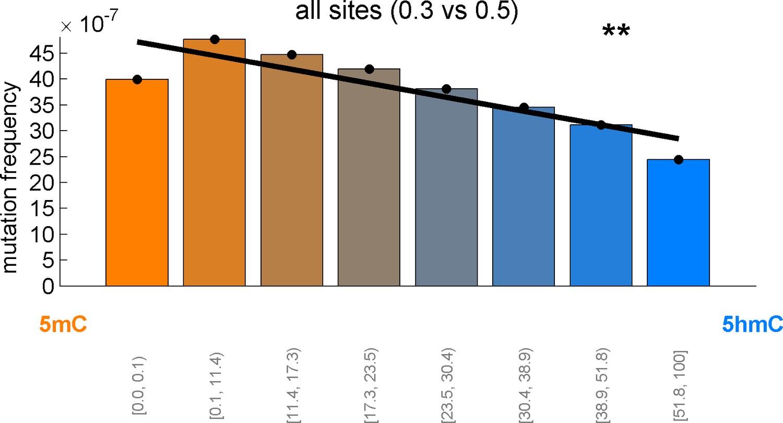 5-hydroxymethylcytosine marks regions with reduced mutation