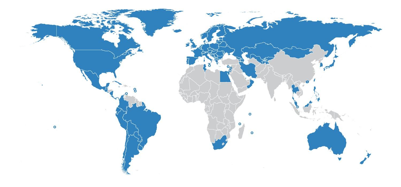 Синим отмечены страны из которых есть данные.